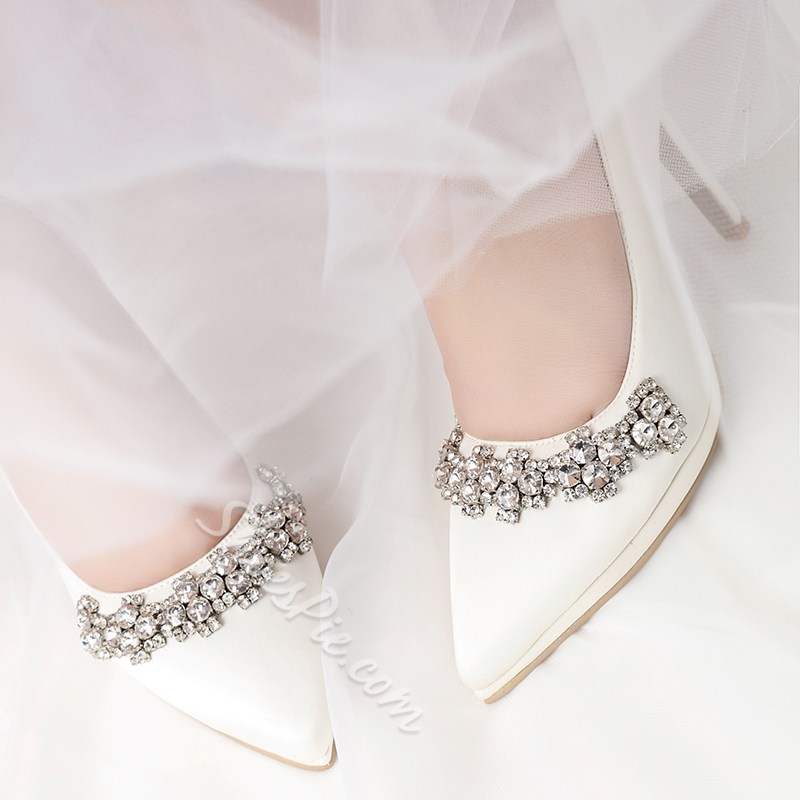 Rhinestone Pointed Toe Slip-On Wedding Shoes