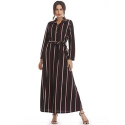 Shoespie Lapel Travel Look Belt Women's Maxi Dress