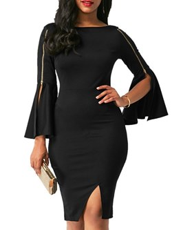 Shoespie Elegant Black Long Sleeve Women's Bodycon Dress
