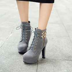 Cross Strap Platform Buckle High Heel Boots
