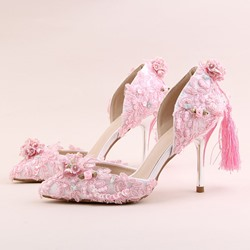 Pink Appliques Slip-On Pointed Toe Wedding Shoes