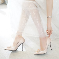 Shoespie Pointed Toe Slip-On Champagne Wedding Shoes