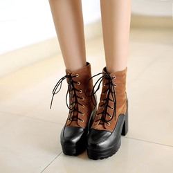 Platform Lace-Up Round Toe Martin Boots