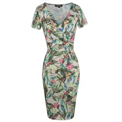 Shoespie Floral Elegant Pleated Women's Bodycon Dress