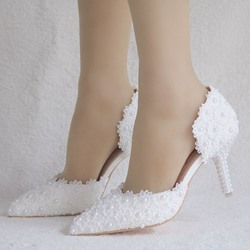 Shoespie Sexy Appliques Stiletto Heel Pointed Toe Wedding Bridal Shoes