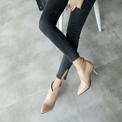 Pointed Toe Back Zip Casual Ankle Boots