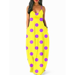 Shoespie Polka Dots Beach Look Print Women's Maxi Dress