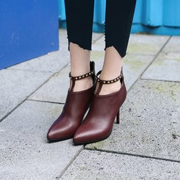 Rivet Pointed Toe Back Zip Stiletto Ankle Boots