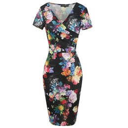 Shoespie Floral V Neck Elegant Women's Bodycon Dress