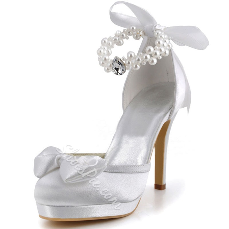 Shoespie Rhinestone White Round Toe Bridal Shoes