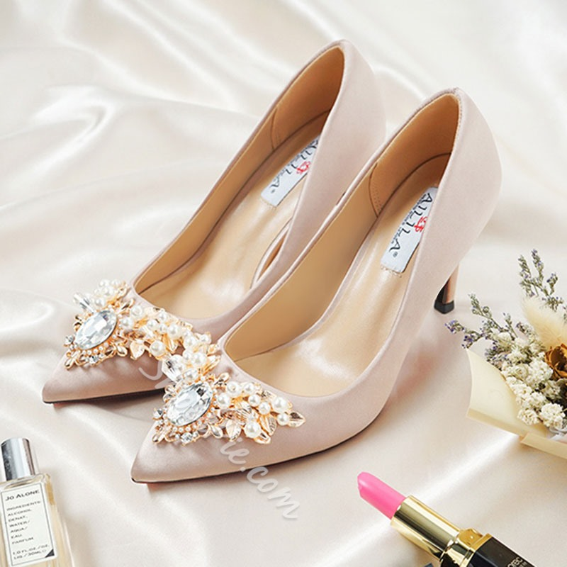 Champagne Rhinestone Slip-On Wedding Shoes