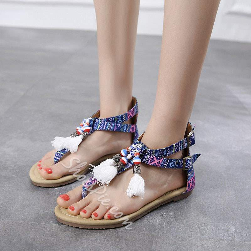 Shoespie Bohemia Fringe Buckle Flat Sandals