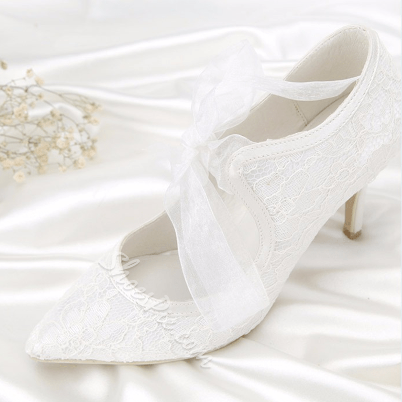 White Pointed Toe Lace-Up Wedding Shoes
