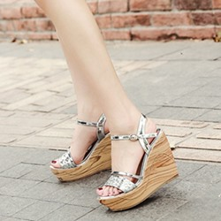 Open Toe Buckle Ankle Strap Wedge Sandals
