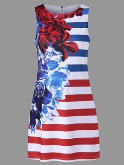 Shoespie Print Floral Round Neck Women's Bodycon Dress