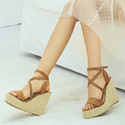 Casual Buckle Open Toe Wedge Heels