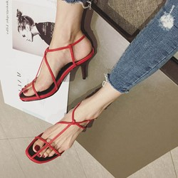 Shoespie Concise Open Toe Strappy Stiletto Heels
