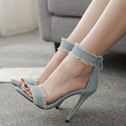 Shoespie Cute Fringe Blue Line-Style Buckle Stiletto Heels