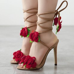 Shoespie Super Cute Appliques Lace-Up Stiletto Heels