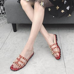 Shoespie Rivet PU Block Heel Slide Sandals