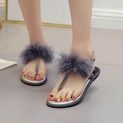 Shoespie Cute Pompom T-Strap Buckle Slide Sandals