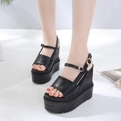 Shoespie Cool Black PU Open Toe Wedge Heels