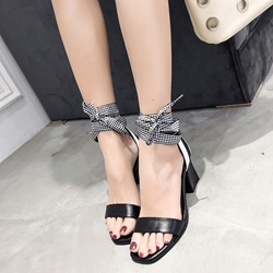 Shoespie Cute Black & White Open Toe Dress Sandals