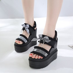 Shoespie Black & White Cute Bow Platform Sandals