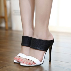 Black & White Stiletto Heel Mules Shoes