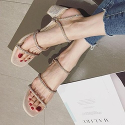 Shoespie Rhinestone Open Toe Ankle Strap Slipper