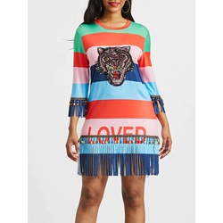 Fringe Patchwork Print Women's Bodycon Dress