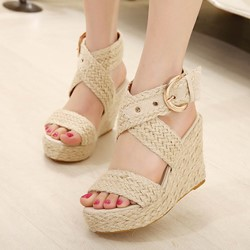 Summer Beach Buckle Woven Wedge Sandals