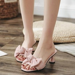 Shoespie Shaped Heel Cut Bow Slide Sandals