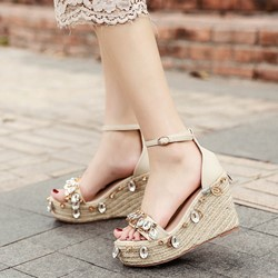 Super Cute Rhinestone Line-Style Buckle Wedge Heels