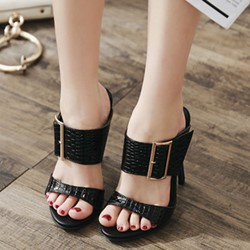 Buckle Decorated Open toe Stiletto Mules Shoes