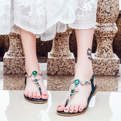 Shoespie Bohemian style Diamond Thong Slide Sandals