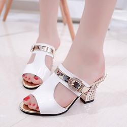 Rhinestone Buckle Chunky Heel Mules Shoes