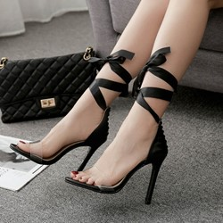 Black Sexy Jelly Lace-Up High Stiletto Heels
