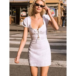 Shoespie Pullover Plain Lace-Up Women's Bodycon Dress