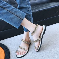 Shoespie Brilliant Rhinestone Toe Ring Slide Sandals