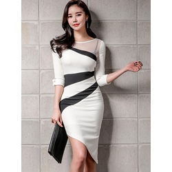 Shoespie Color Block Pullover Mesh Women's Bodycon Dress