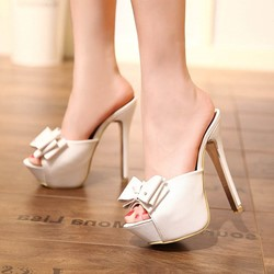 White Bow Stiletto Heel Mules Shoes