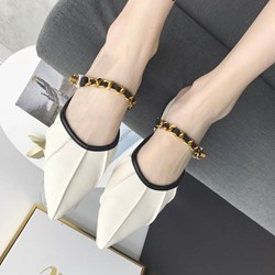 Shoespie Pointed Toe Block Heel Slide Sandals