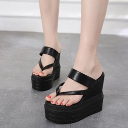 Shoespie Black Cool PU Thong Platform Mules Shoes