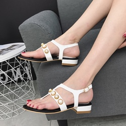 Shoespie Big Beads Casual Block Heel Slide Sandals