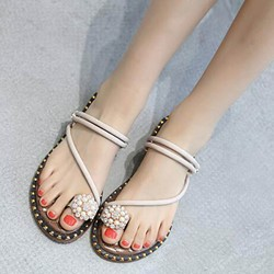 Shoespie Rhinestone Toe Ring Casual Slide Sandals