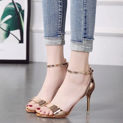 PU Line-Style Buckle Stiletto Heel Sandals
