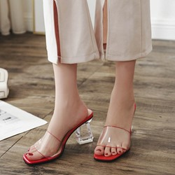 Shoespie Casual Jelly Chunky Heel Slide Sandals