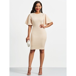 Shoespie Ruffles Plain Round Neck Women's Bodycon Dress