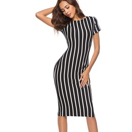 Shoespie Stripe Pullover Women's Bodycon Dress
